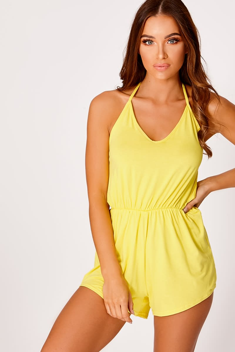 yellow jersey halterneck playsuit
