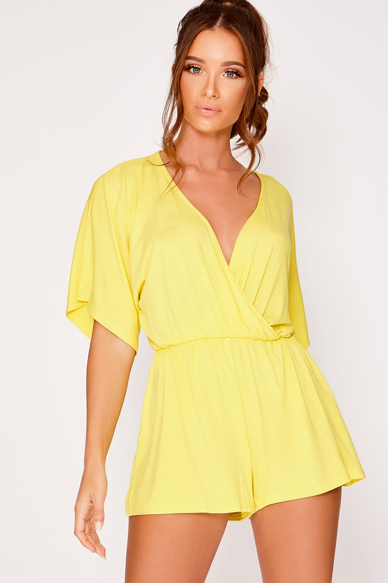 yellow jersey plunge wrap playsuit