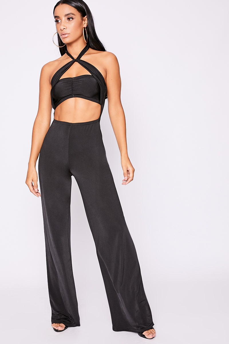 black twist front halterneck jumpsuit