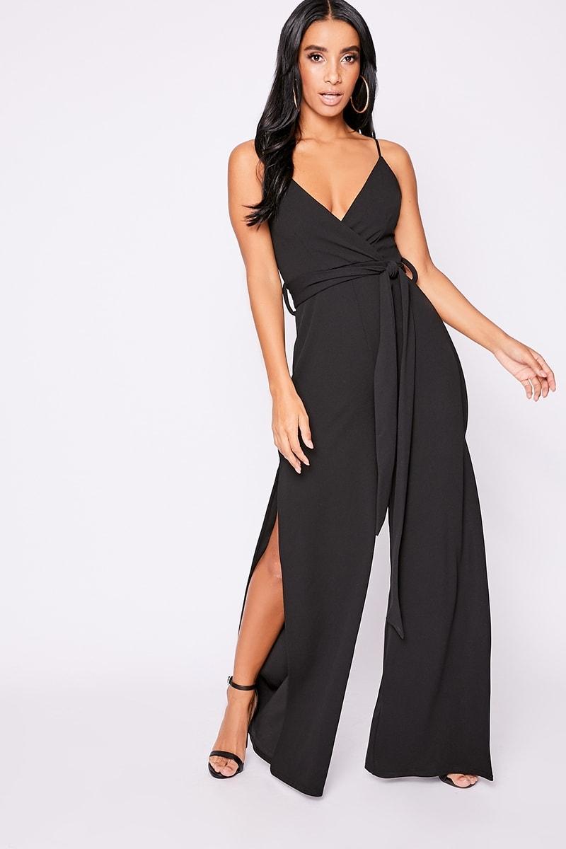 black plunge wide leg jumpsuit