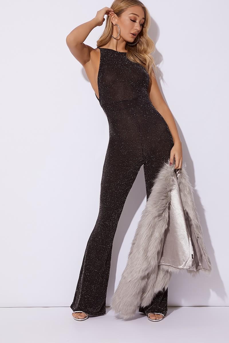 black glitter flare leg jumpsuit