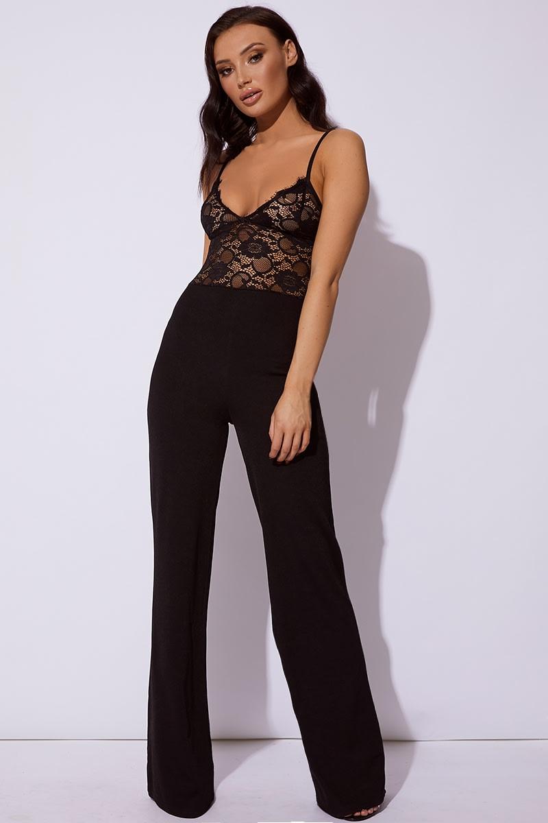 black lace plunge wide leg jumpsuit