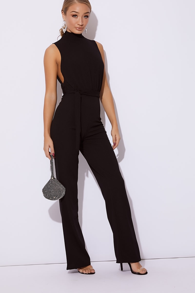 black high neck tie waist jumpsuit