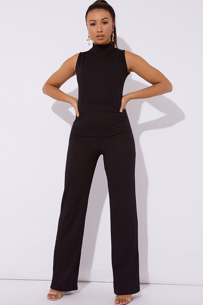 black ribbed high neck wide leg jumpsuit