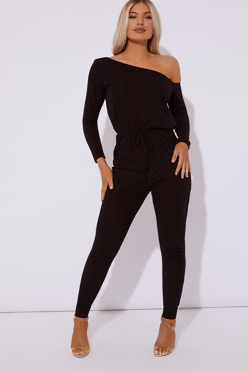 black ribbed off shoulder lounge jumpsuit