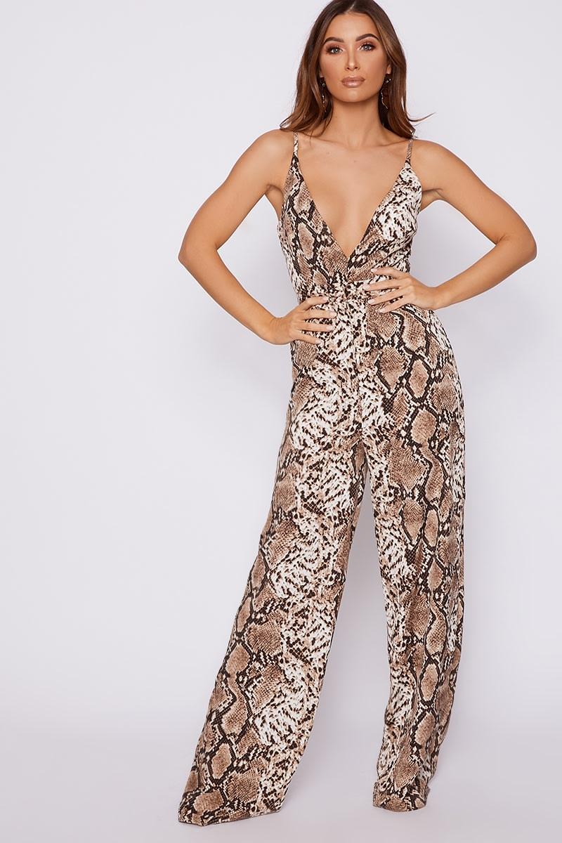 brown snake print wrap plunge jumpsuit