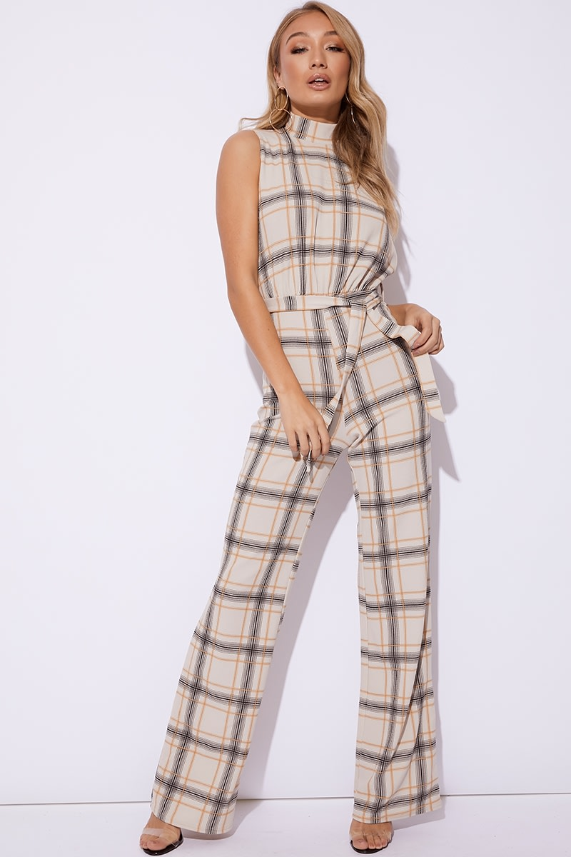 stone checked high neck jumpsuit