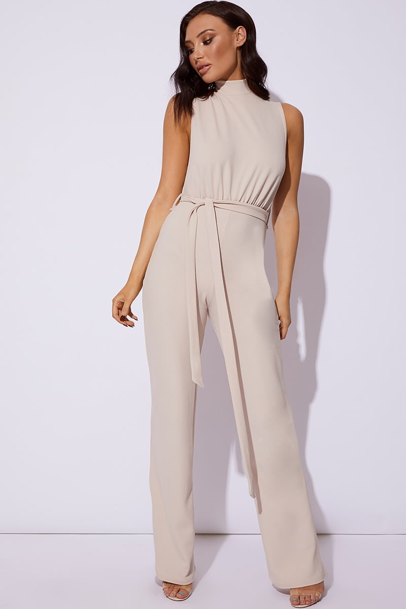 camel high neck tie waist jumpsuit