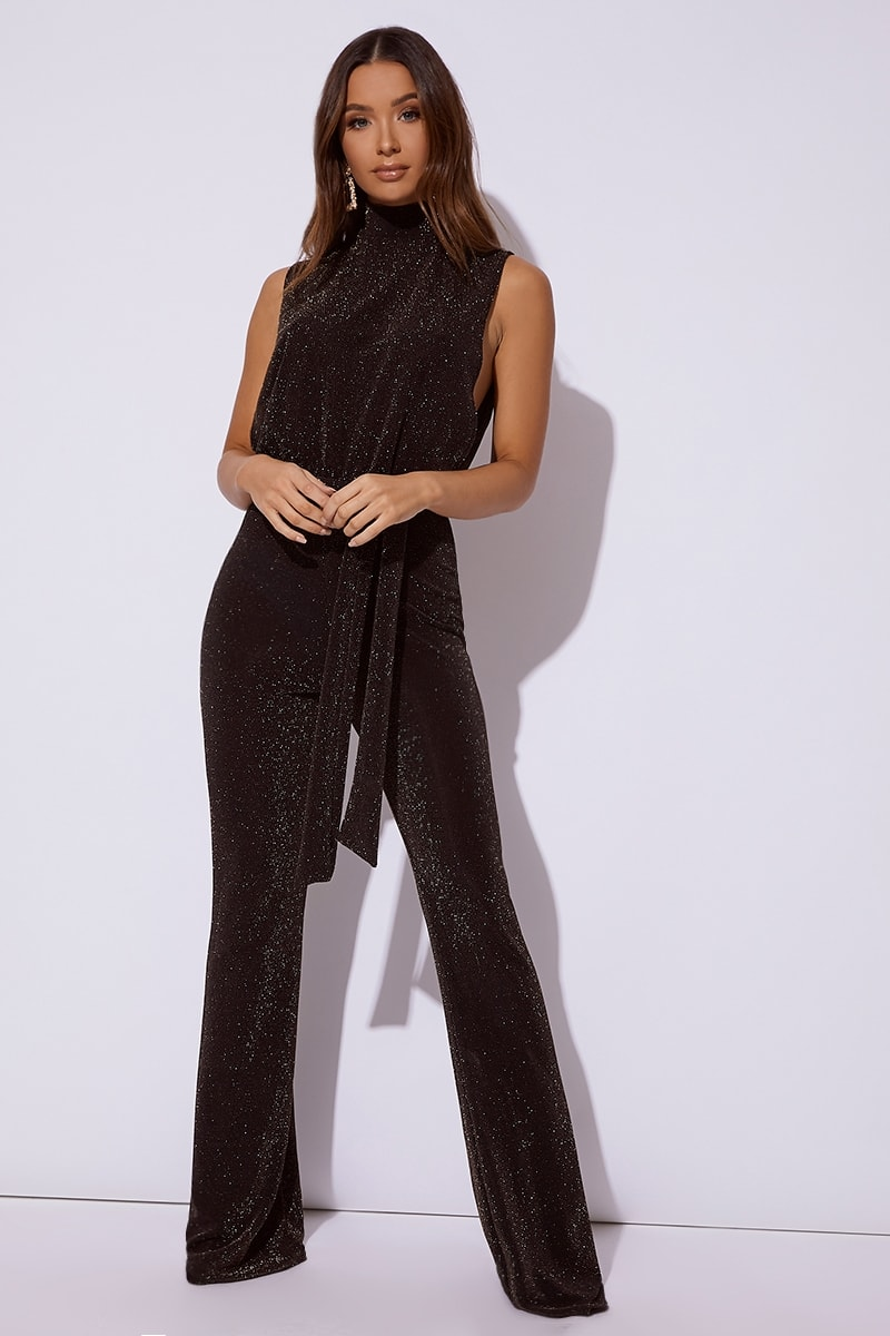 black and gold high neck tie waist jumpsuit