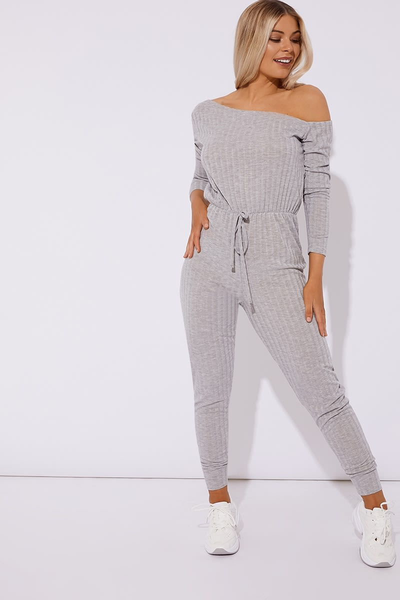 grey ribbed off shoulder lounge jumpsuit