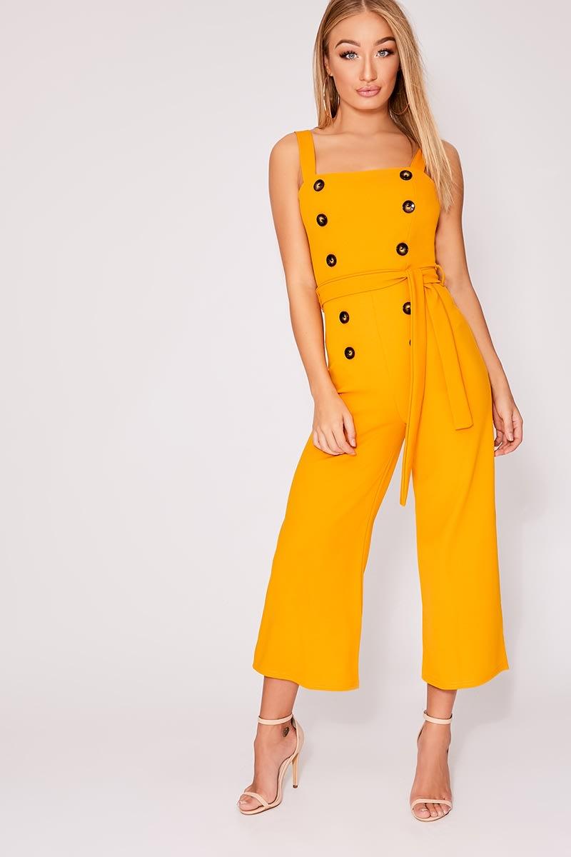mustard horn button culotte jumpsuit