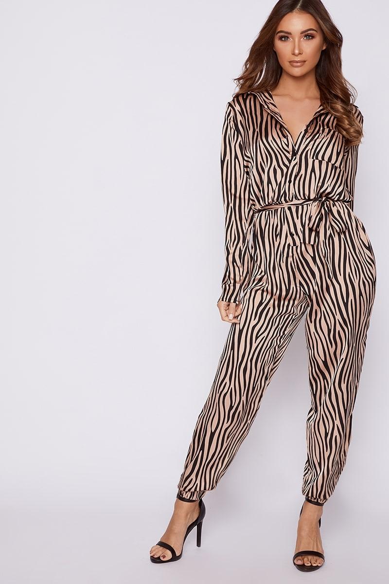 nude zebra satin utility jumpsuit