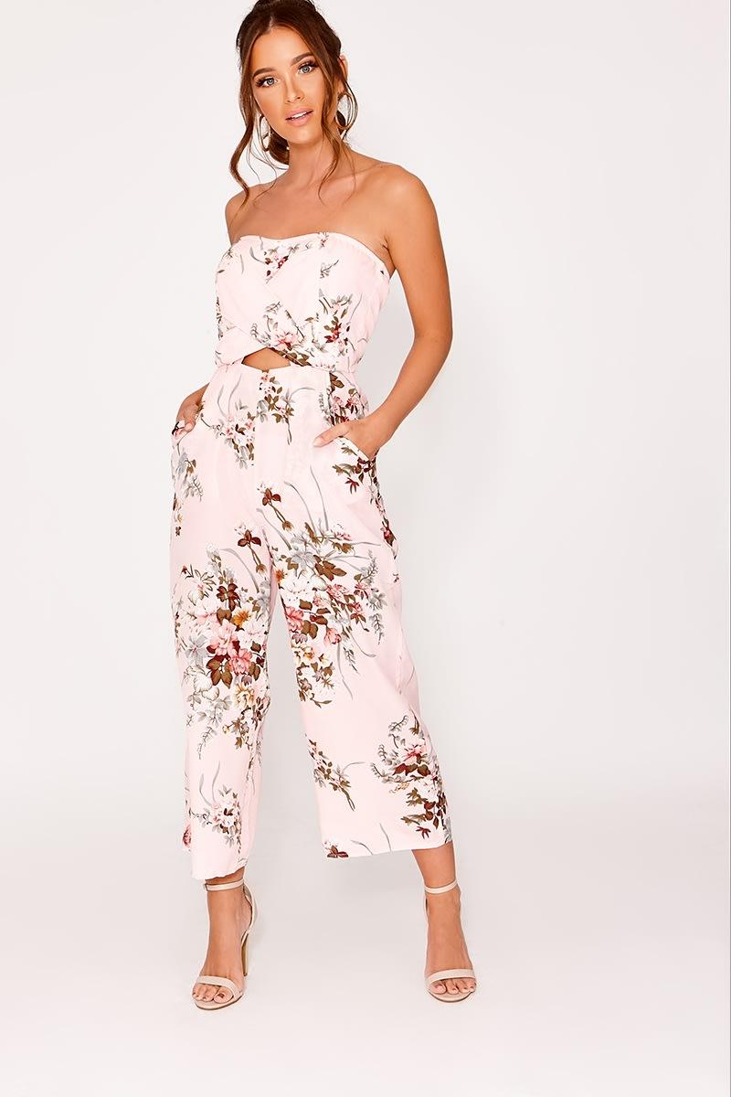 pink floral bandeau culotte jumpsuit