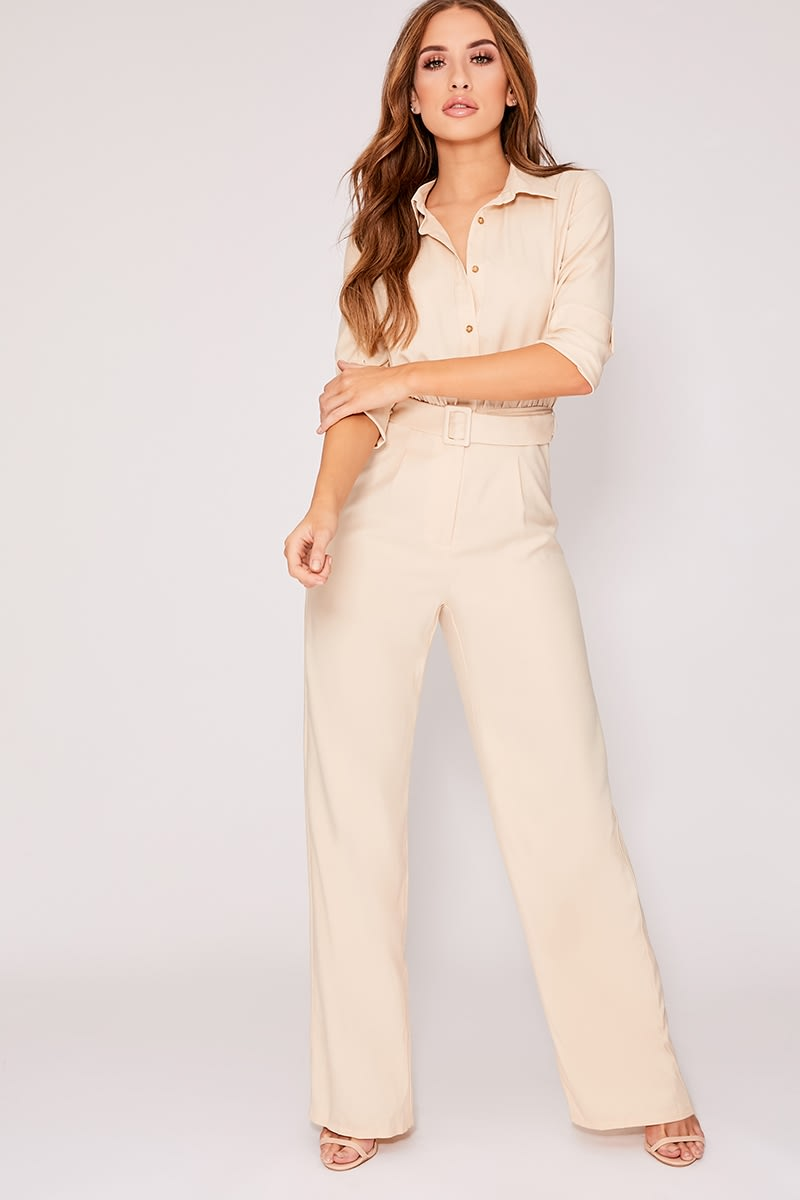 stone belted utility jumpsuit