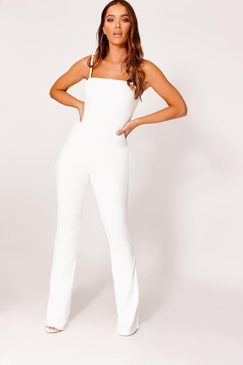 white square neck flared leg jumpsuit