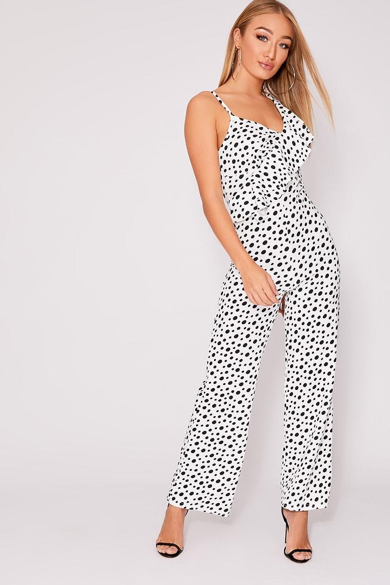 white leopard print frill wide leg jumpsuit