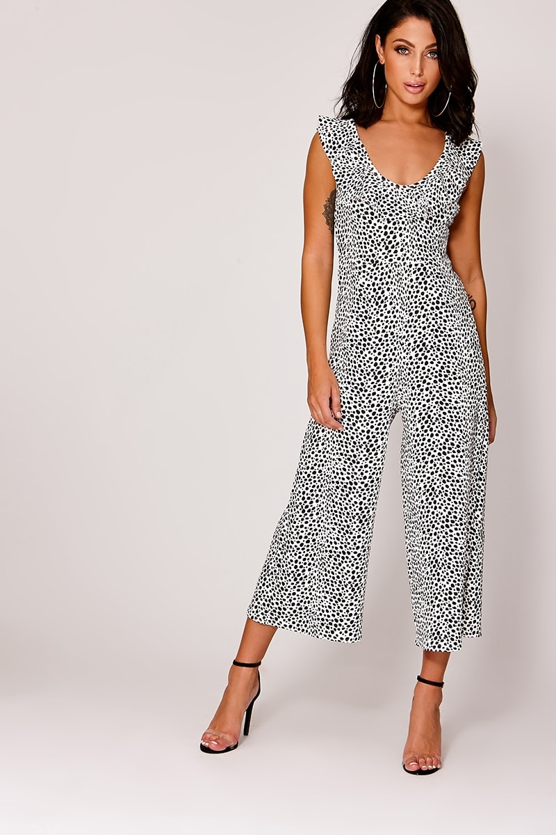 white leopard print frill culotte jumpsuit