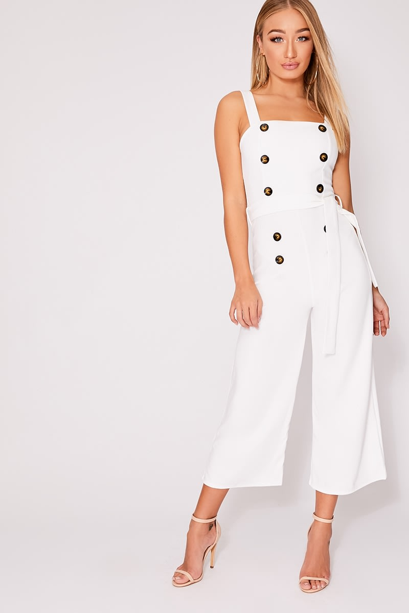 white horn button culotte jumpsuit