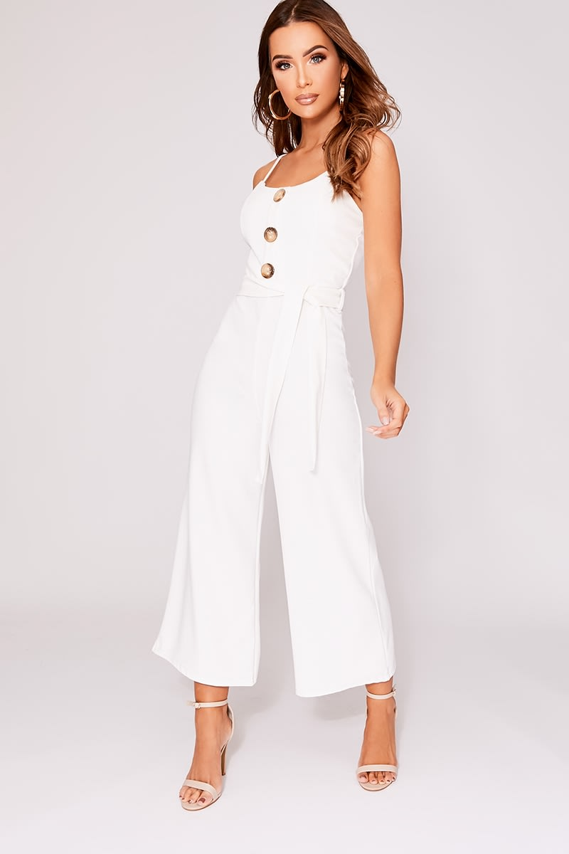 DESERA WHITE HORN BUTTON BELTED JUMPSUIT