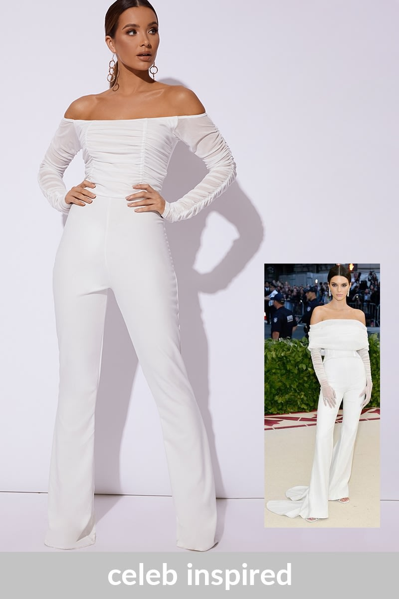 white ruched bardot jumpsuit