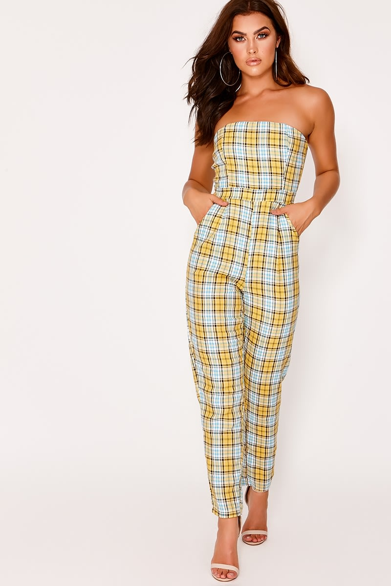 DESTINIE YELLOW CHECKED BANDEAU JUMPSUIT