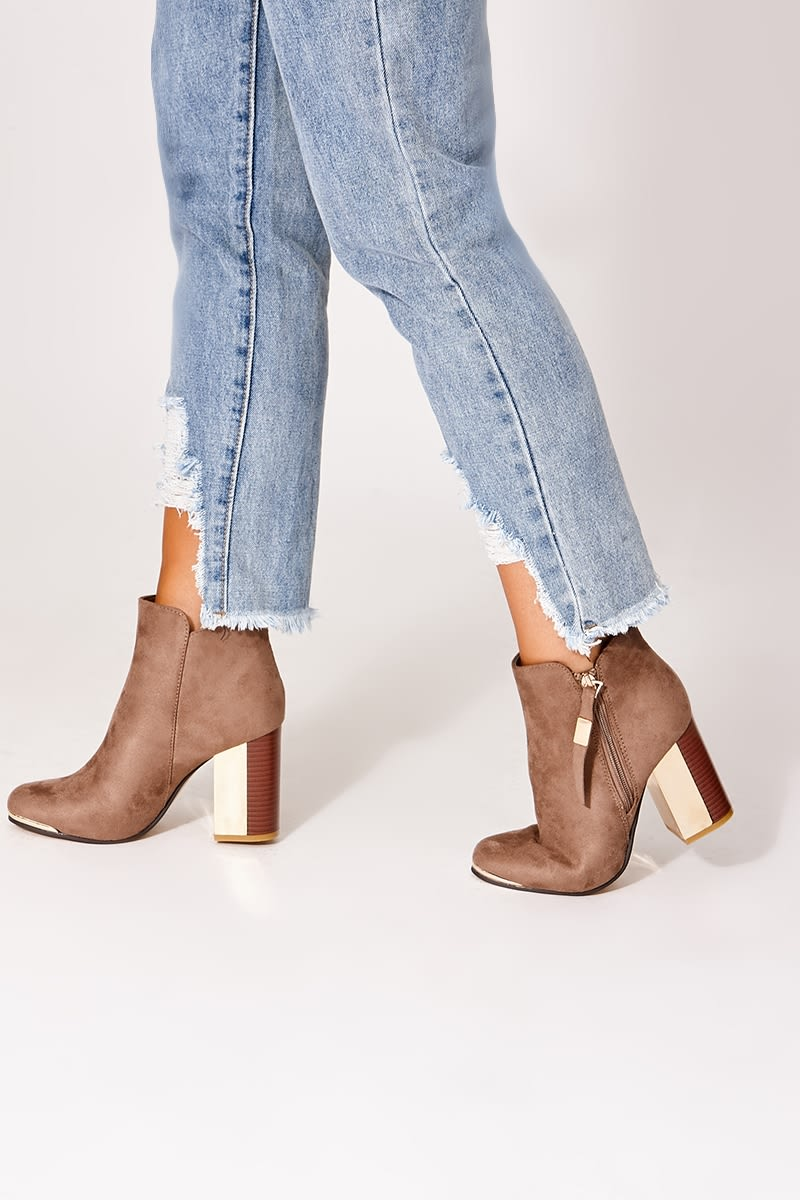 taupe faux suede colourblock heel ankle boots