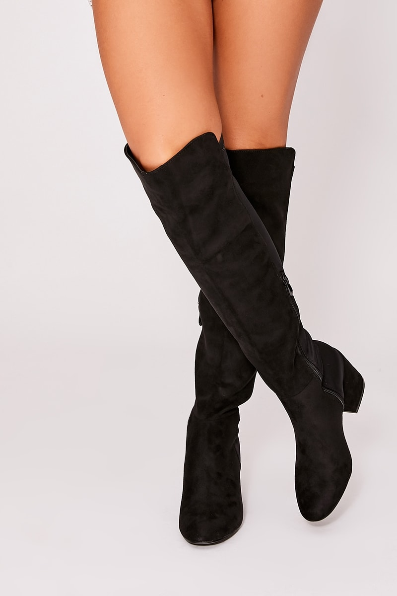 BETTIE BLACK FAUX SUEDE WITH LYCRA BACK HEELED KNEE HIGH BOOT