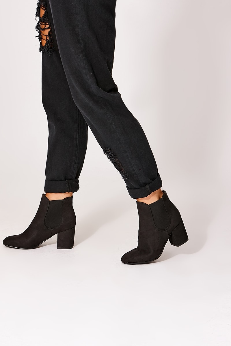 SYREETA BLACK FAUX SUEDE CHELSEA BOOTS