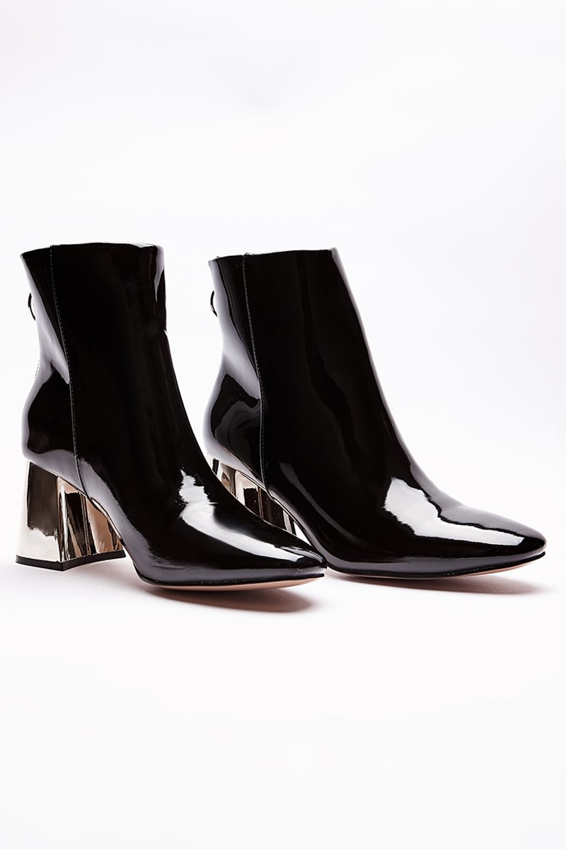 SYREENA BLACK PATENT GOLD HEEL ANKLE BOOTS