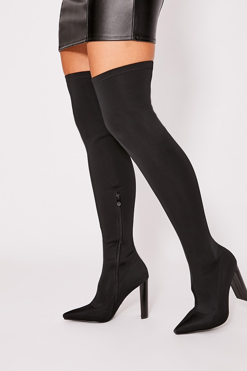 black stretch heeled over the knee boots