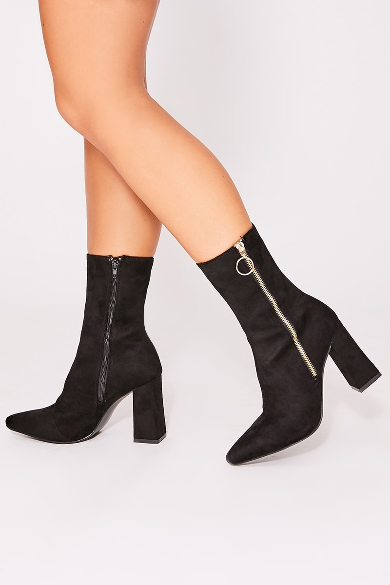 OCELLA BLACK FAUX SUDED ZIP DETAIL ANKLE BOOTS