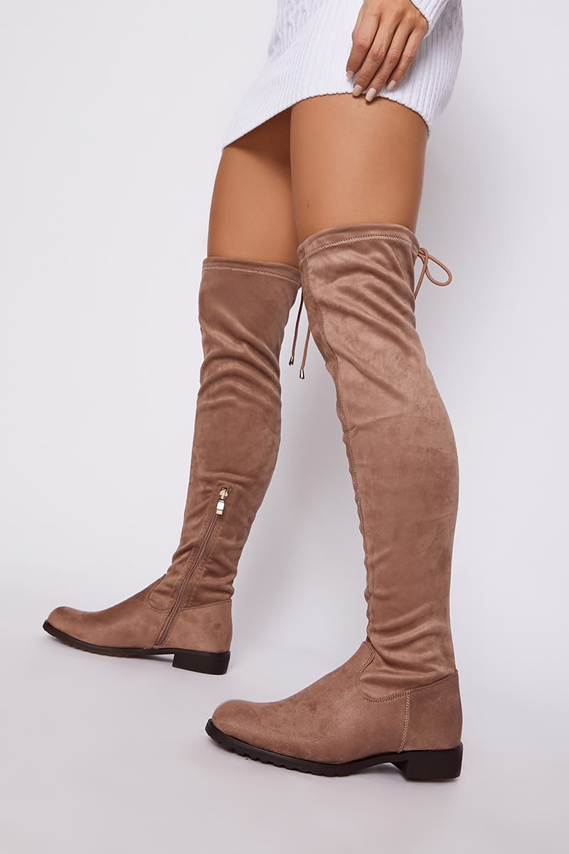 mocha faux suede thigh high boots
