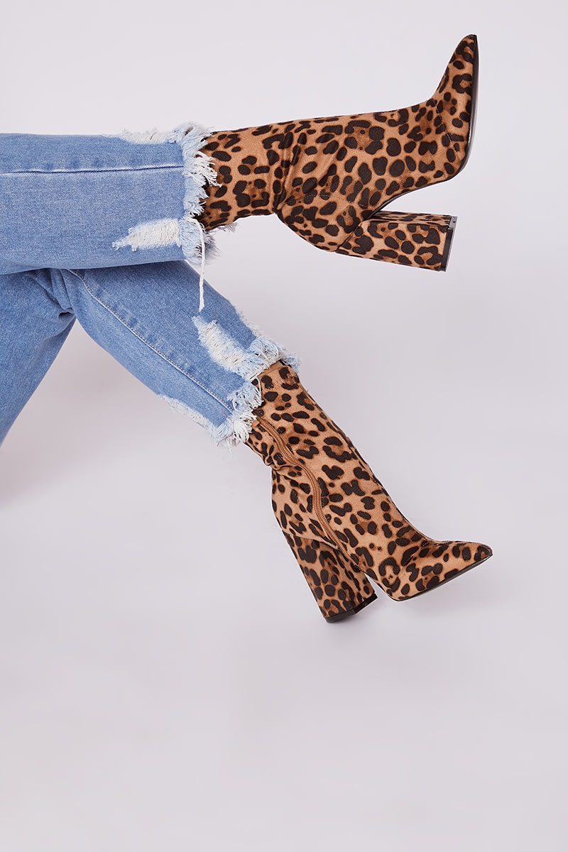 leopard print faux suede heeled ankle boots