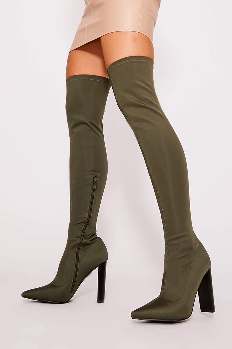 khaki stretch heeled over the knee boots