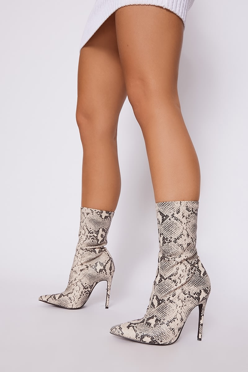 nude snake print sock boots