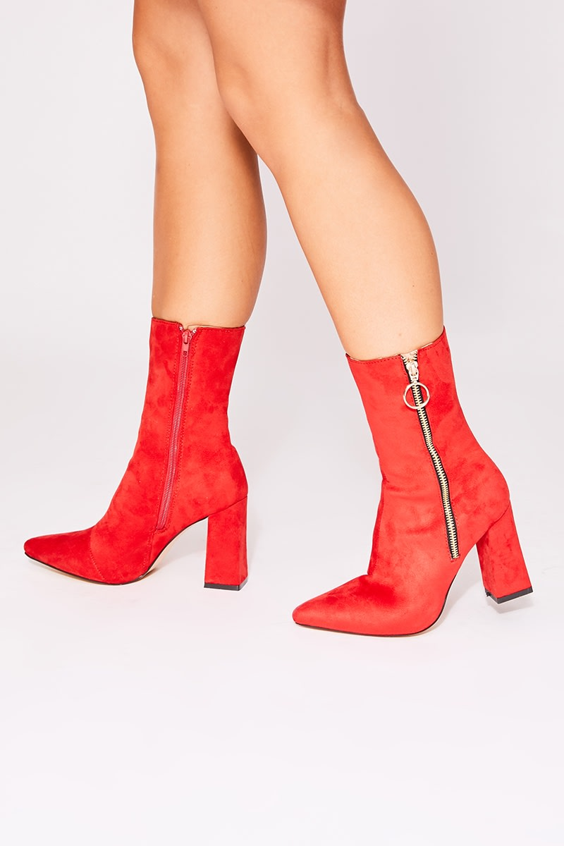 OCELLA RED FAUX SUEDE ZIP DETAIL ANKLE BOOTS