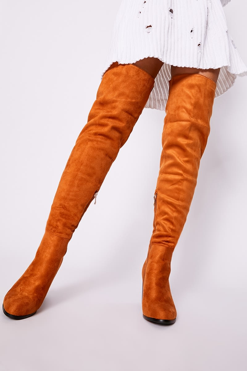 Tan Faux Suede Mid Heel Over The Knee