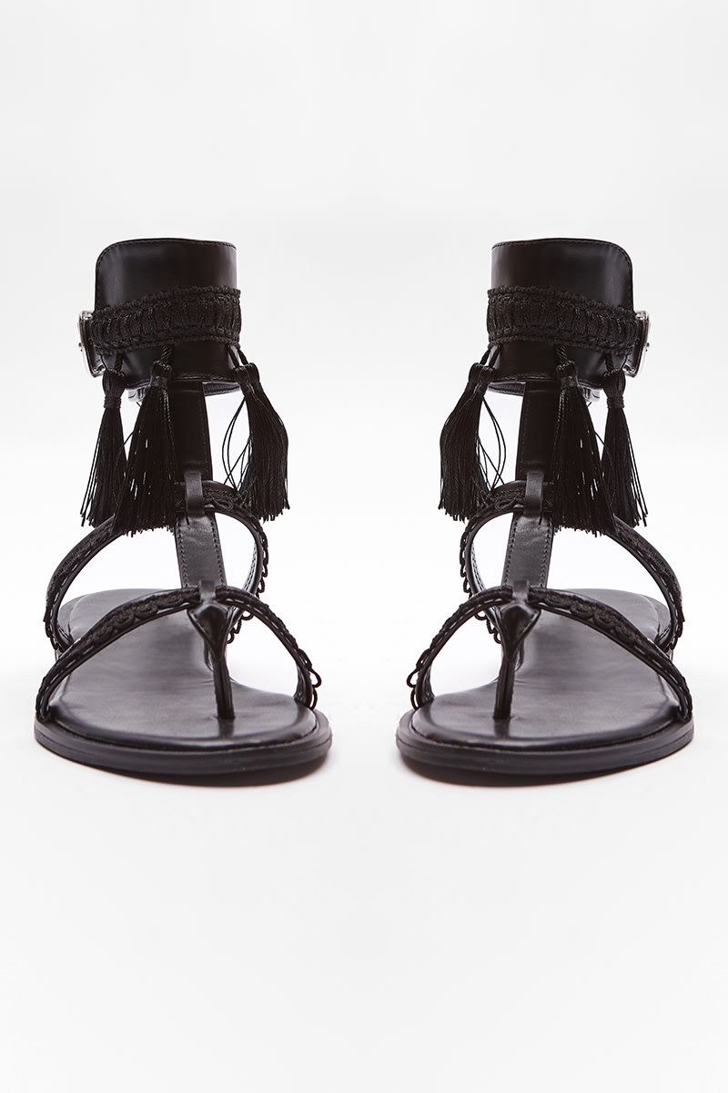 black tassel buckle detail sandals