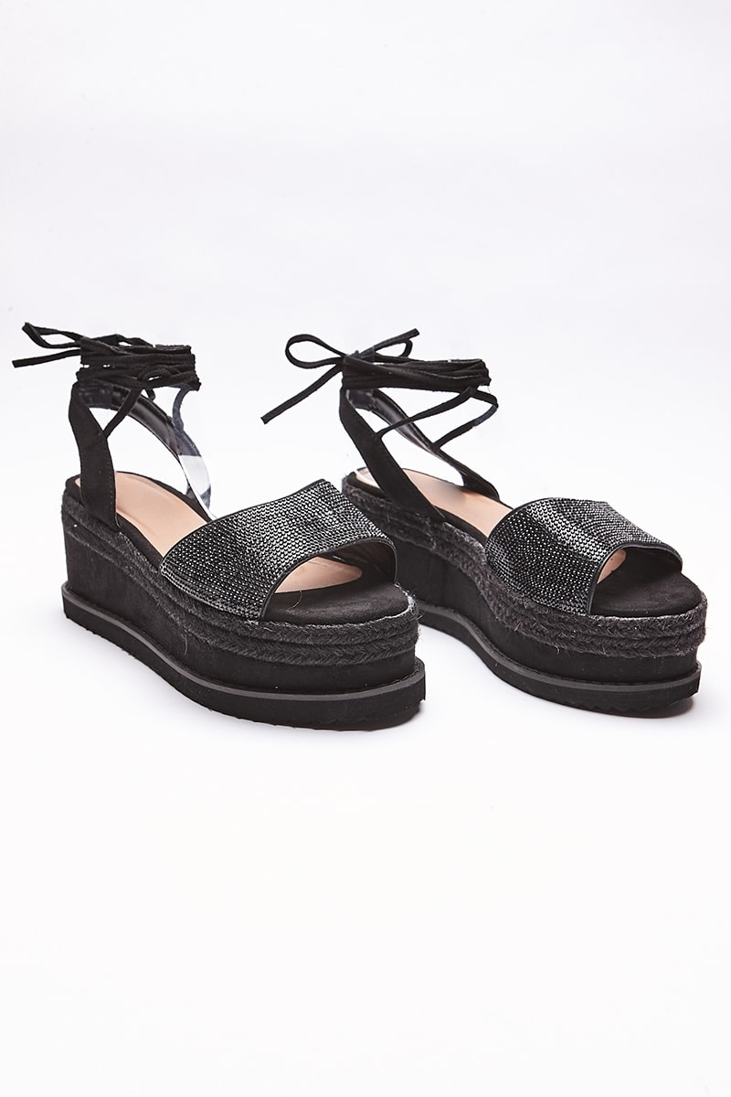 black diamante espadrilles