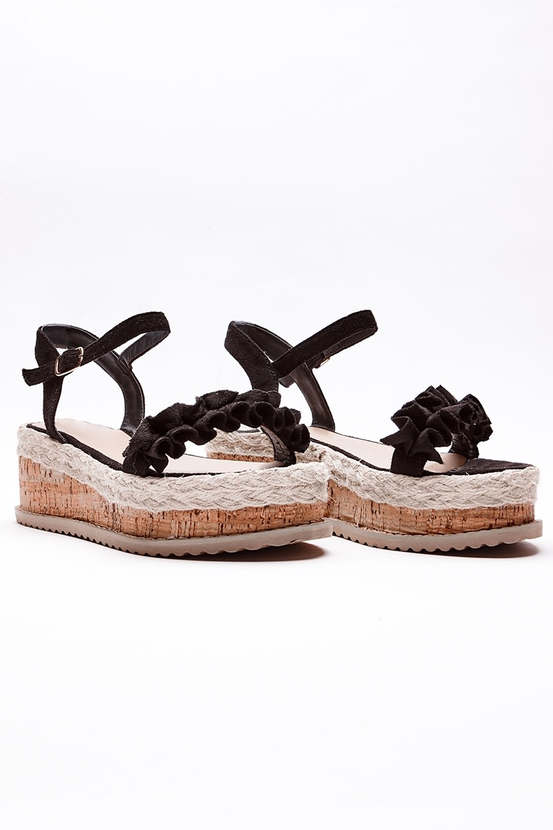 SELBY BLACK FRILL DETAIL ESPADRILLES