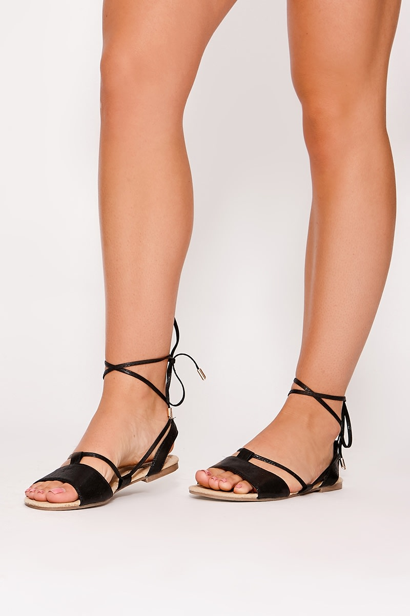 JACALEEN BLACK TIE DETAIL SANDALS