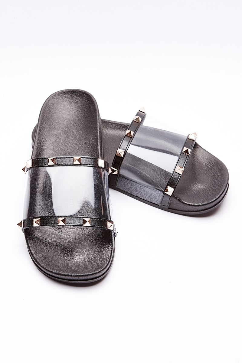 ILKIA BLACK STUDDED CLEAR STRAP SLIDERS