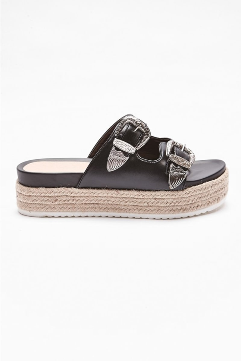 black buckle detail flatform sliders