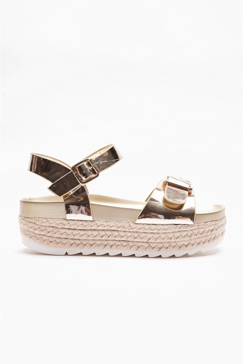gold metallic buckle espadrilles