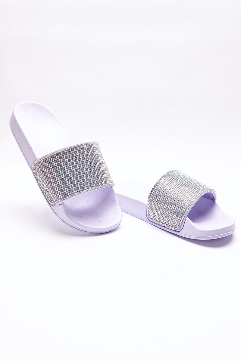 lilac holographic diamante sliders