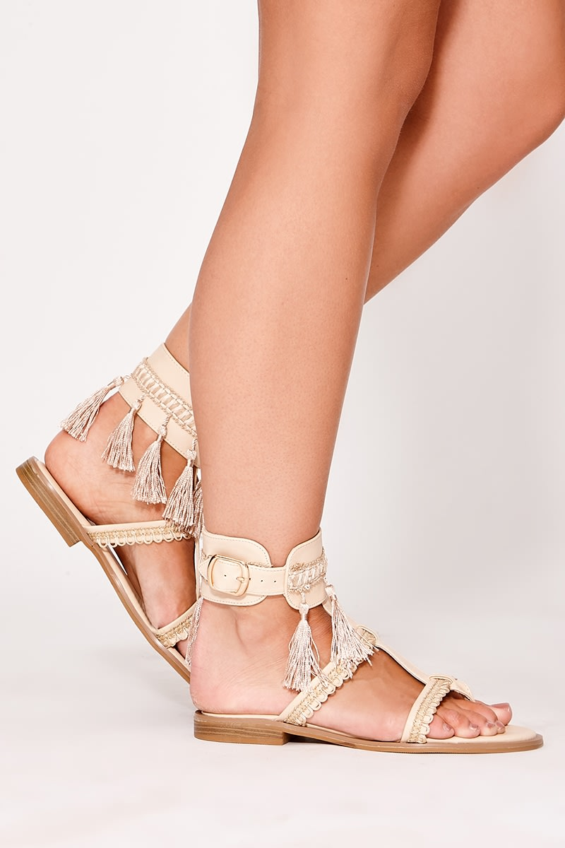 NEENIA NUDE TASSEL BUCKLE DETAIL SANDALS