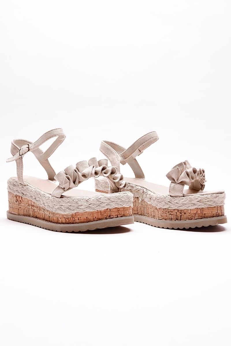 nude frill detail espadrilles