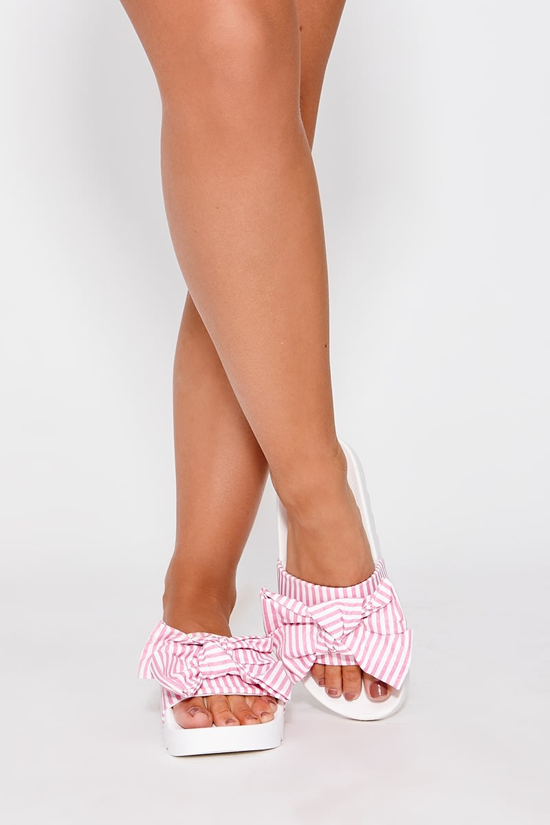 LINEENA PINK STRIPE BOW SLIDERS