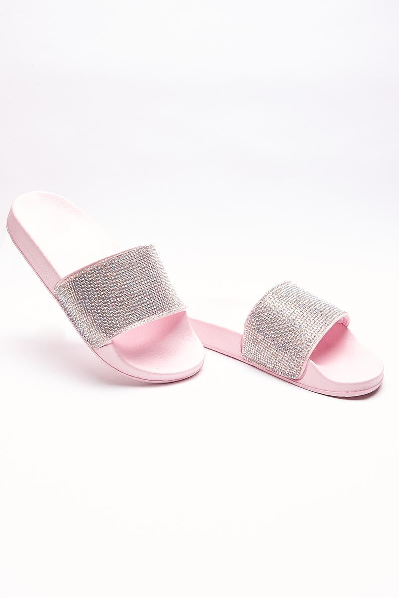SABIA PINK HOLOGRAPHIC DIAMANTE SLIDERS