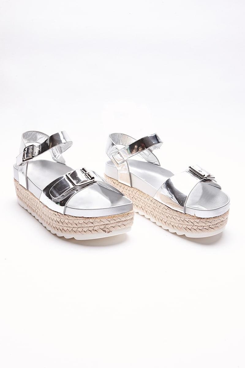 silver metallic buckle espadrilles
